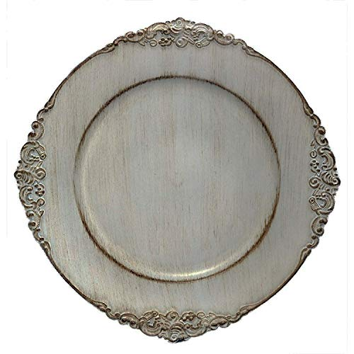Tiger Chef 12-Pack 13-inch Royal Antique Grey Round Vintage Dinner Charger For Plates Wedding Reception Chargers Plate Chargers For Table Settings Disposable Hard Round Heavyweight Charger Plates (12)