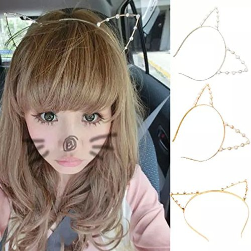 IebeautyCrystal Fashion Girls Cat Ears Faux Pearl Alloy Headband Headwear Punk Hair Wrap (Gold Rehinstone)