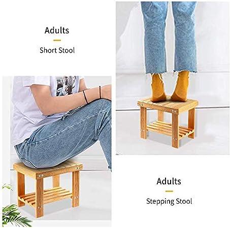 Yoassi - Taburete bajo de bambú natural con estante de ...