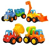 Sun4U Set of 4 Push and Go Cartoon Friction Powered Play Vehicles for Toddlers - Dump Truck, Cement Mixer, Bulldozer, Tractor
