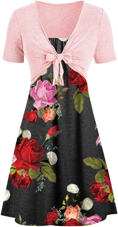 Women Printed Cotton and Linen Dress,FAPIZI Plus Size Summer Fashion V Neck Short Sleeve Casual Loose Short Dress