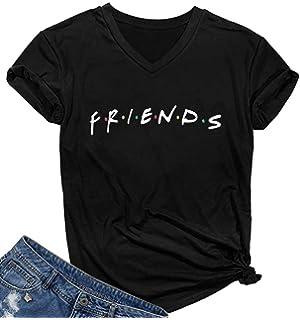 5d35310e5 SELECTEES Women Friends V-neck T Shirts Graphic Teen Girls Cute Tops