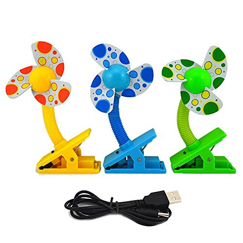 Aenmil® High Quality Mini Baby Stroller Clip-on Fan Play Gyms Mini Clip-on Fan Multi Color Plastic Clip-on Stroller Fan Safe For Infant Great for Baby Stroller, Baby Cots, Playpens, Desks, in the Car and etc.(Color in Random) -