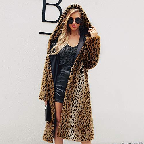 de Invierno Invierno Mujer Parka Leopardo Abrigos Chaqueta sintética cálidas Amarillo Piel Mujeres Encapuchado de Abrigos Abrigo xqIF5dvv