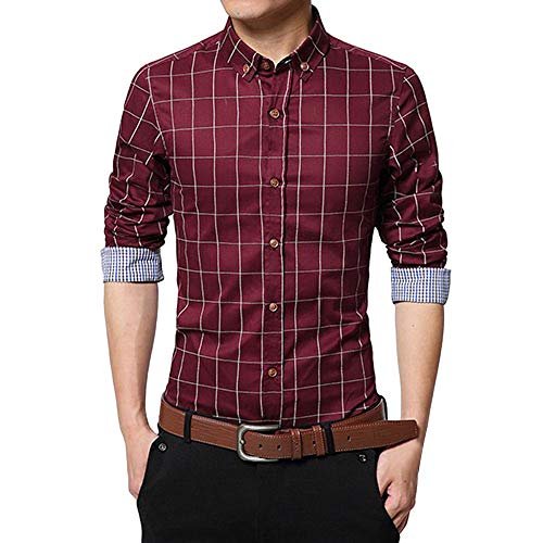 ZYEE Clearance Sale! Men's Slim Long Sleeve Shirt Plaid Casual Social Shirt Blouse Top