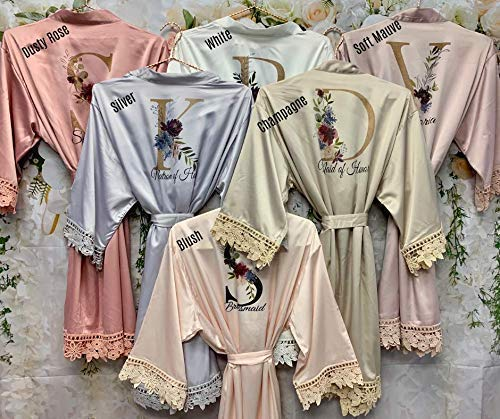 Personalised Satin Floral Lace Bride Bridesmaid Robe Floral Vintage Rose Wedding Party Gift