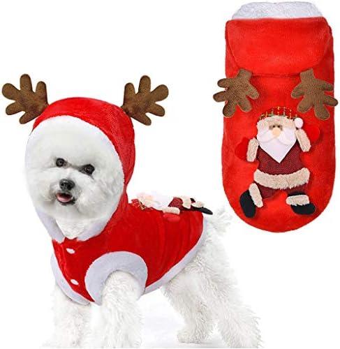 DSDecor - Disfraz de Papá Noel para perros de Navidad, ropa de invierno para perros pequeños 2