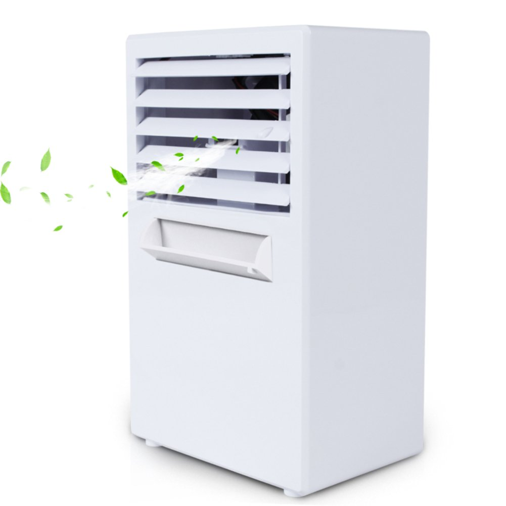 JiaQi Mini Air Conditioning,Desktop Air Conditioner,Humidifier Personal Space Cooler Usb Outdoor Camping Office-White 14.5x10x25cm(6x4x10inch)