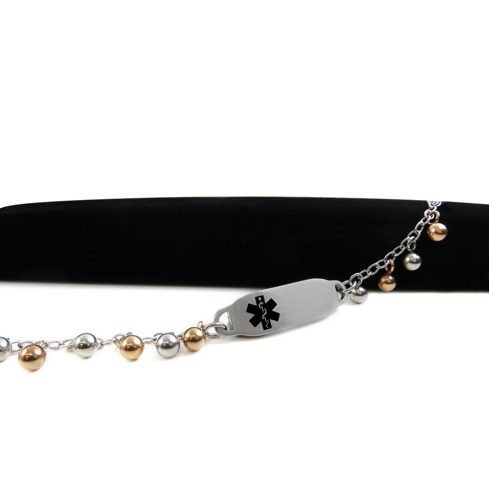 Steel Raindrop Black Symbol My Identity Doctor Pre-Engraved /& Customized Blood Thinners ID Bracelet