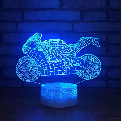 LED Night Light 3D Stereo Acrylic Desk Lamp Motorcycle Pattern Optical Illusions Bedside Table Lamps Bedroom Decoration for Kids Gifts 003