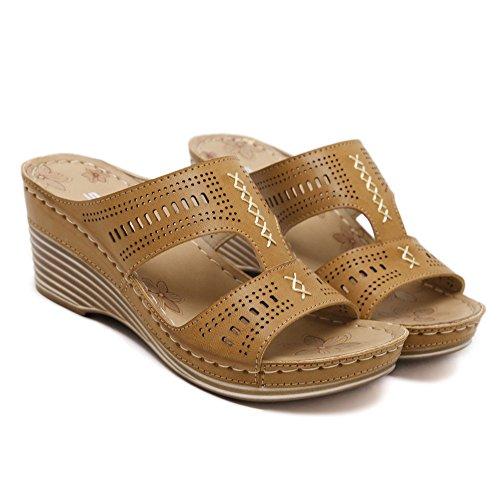 MAKEGSI Women Flip Flops Wedge Heel Shoes Beach Slippers Khaki EYGEqT1JJP