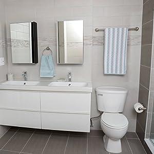 AmazonBasics Modern Bathroom Accessories Set – 3 Piece – Satin Nickel