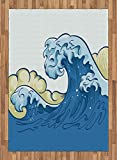 Japanese Wave Area Rug by Ambesonne, Cartoon Style Big Wave Ocean Aquatic Artistic Curves Splash Storm, Flat Woven Accent Rug for Living Room Bedroom Dining Room, 5.2 x 7.5 FT, Khaki Blue Pale Blue
