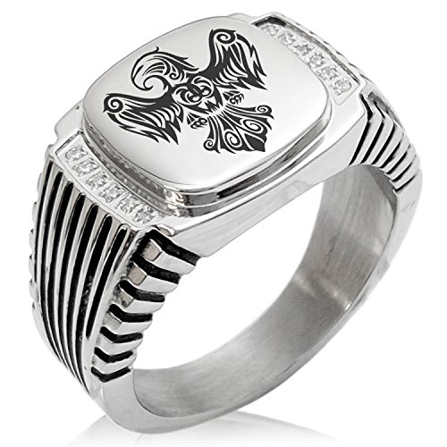 (Two-Tone Stainless Steel Aztec Power Strength Courage Rune Engraved Clear Cubic Zirconia Ribbed Needle Stripe Pattern Biker Style Polished Ring, Size 10)