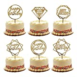 Gold Happy Birthday Cake Topper Acrylic Cupcake Topper Glitter Birthday Cake Supplies Party Event Decorations (6 pieces)