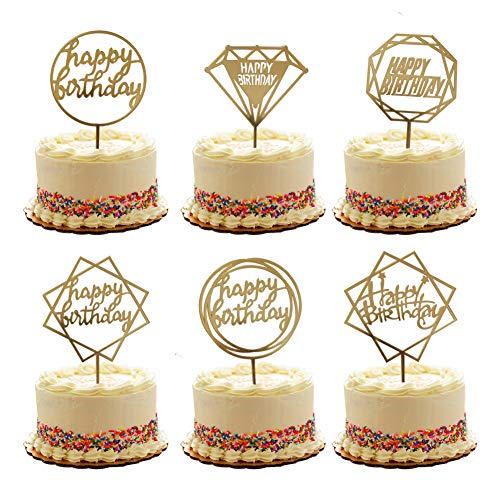 Gold Happy Birthday Cake Topper Acrylic Cupcake Topper Glitter Birthday Cake Supplies Party Event Decorations (6 pieces) (Happy Birthday)