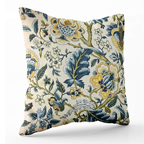 (Shorping Zippered Pillow Covers Pillowcases 18X18 Inch Floral Jacquard Print Blue Yellow hues Decorative Throw Pillow Cover,Pillow Cases Cushion Cover for Home Sofa Bedding Bed Car Seats Decor )