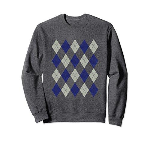 Unisex Argyle Gray and Blue pattern 80s retro preppy sweatshirt XL: Dark - Preppy 1980s