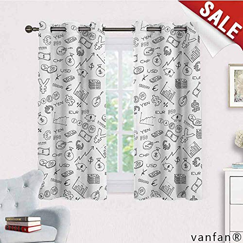 Exclusive Home Curtains,Money,Monochrome Pattern with Euro Dollar Yen Symbols Coins Piggy Bank Stock Graphs Doodle,with Grommet TopBlack White,W63 Xl45