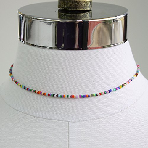 Tiny Multi Color Choker Necklace-Colorful Bead, Single Strand, Adj 14