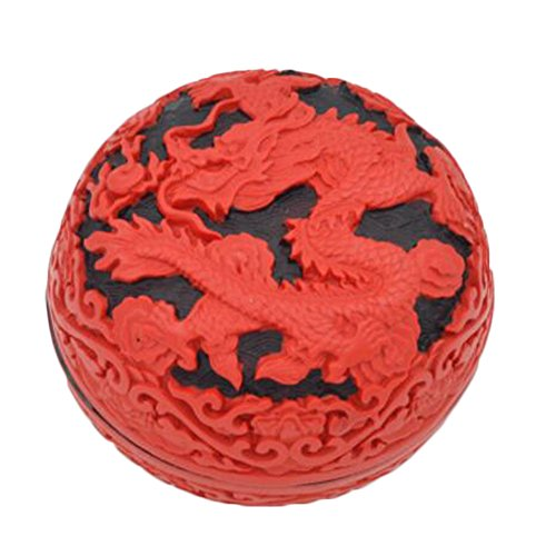 Chinese Mini Traditional Carved Lacquer Red Jewelry Box Treasure Chest Case, No.8 Chinese Carved Lacquer