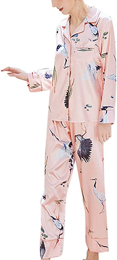 Pijamas Mujer Algodon,Conjuntos De Pantalones De Satén De Manga Larga Cones Tampado De Manga Larga para Mujeres De Moda Ropa De Domir Elegante Manga Pantalon Largos Set: Amazon.es: Ropa y accesorios