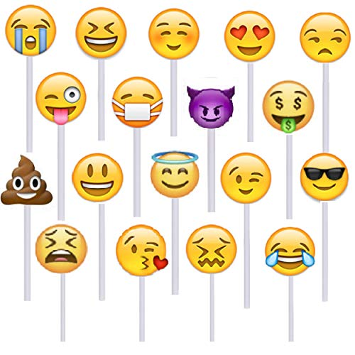 Prextex 24 Pack Emoji Lollipops Yummy Emojiland Suckers Candy on a Stick