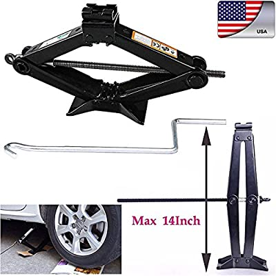 Heavy Duty Leveling Scissor Jack 2 Ton Tonne with Chromed Crank Speed Handle For RV Car Motorcycle Lifting
