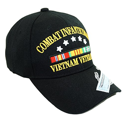 - U.S. Military Official Licensed Embroidery Hat Army Navy Veteran Baseball Cap (Combat Infantry Vietnam Veteran-Black)