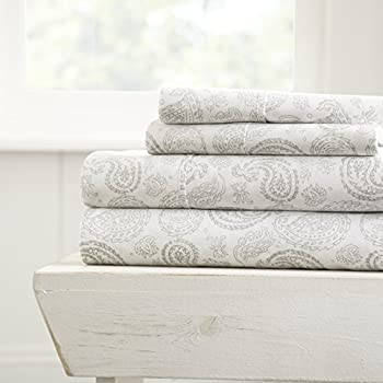 ienjoy Home 4 Piece Sheet Set Patterned, King, Coarse Paisley Gray