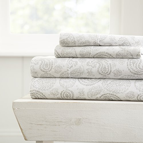 ienjoy Home 4 Piece Sheet Set Coarse Paisley Patterned, Queen, Gray from ienjoy Home