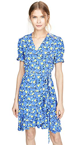 Diane von Furstenberg Women's Emilia Dress, Ditsy Vines Baja Blue, Large