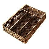 No Cover Storage Box Woven Table Top Debris Storage Box Multi-Grid Woven Basket, 01
