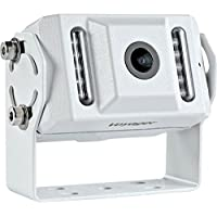 Voyager VCMS155 Color CCD IR LED Camera, White, High performance color optics, Waterproof (IP69K), 155 degrees Viewing angle, IR low light assist (9 LEDs), Mirro image orientation, Microphone, White Aluminum Housing, Corrosion resistant (ASTM B117)