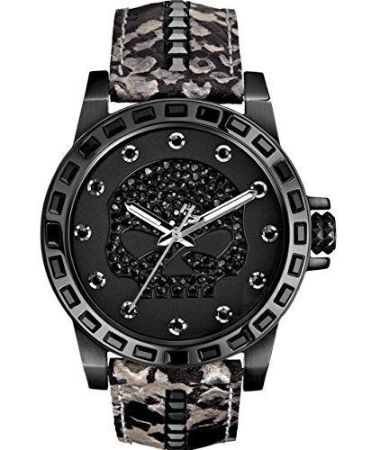 Harley-Davidson Women's Bulova Black Crystal Skull Wrist Watch 78L116