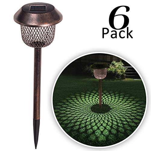 "Valery Madelyn 6 Pack 17.5"" Waterproof Solar Pathway Lights Outdoor Garden Stakes Lights with Auto On/Off Work, Bronze Wireless Stainless Steel Net"