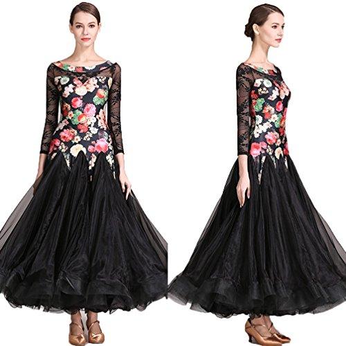 Sala Valzer Per Xl Tango Di Black Outfit Pizzo Da Wqwlf Grande Spettacolo Donne Vestito Danza Foxtrot s Costumi Swing Ballo TtfxPnB