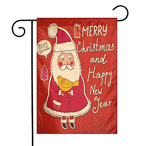 Mannwarehouse Christmas Garden Flag Happy New Year Retro Illustration with Cute Santa Claus Holding Yellow Bird Premium Material W12 x L18 Ivory Orange