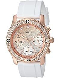 Womens Stainless Steel Silicone Crystal Glitter Watch, Color: White/Rose Gold-Tone