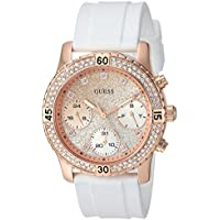 GUESS Women's Stainless Steel Silicone Crystal Glitter Watch, Color: White/Rose Gold-Tone (Model: U1098L5)