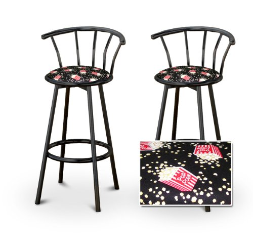 2 Movie Theater Popcorn Snacks Upholstery Custom Black Barstools with Backres... by The Furniture Cove