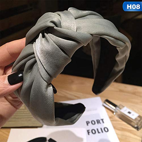 (Knot Cross Tie Solid 1 PC Fashion Hair Band Hairband Knitted rib Girls Bow Hoop Hair Accessories Twist Headband,08)