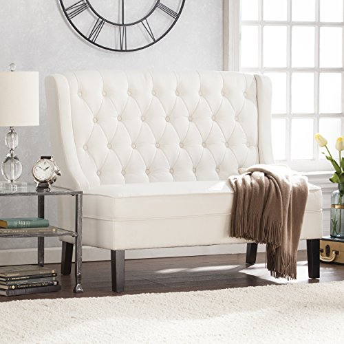 Southern Enterprises AMZ3539PU Linklea High Back Tufted Settee Bench, Ivory