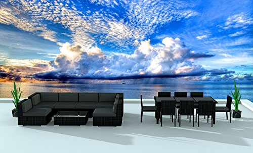 Urban Furnishing.net - BLACK SERIES 16 Piece Outdoor Dining and Sofa Sectional Patio Furniture Set
