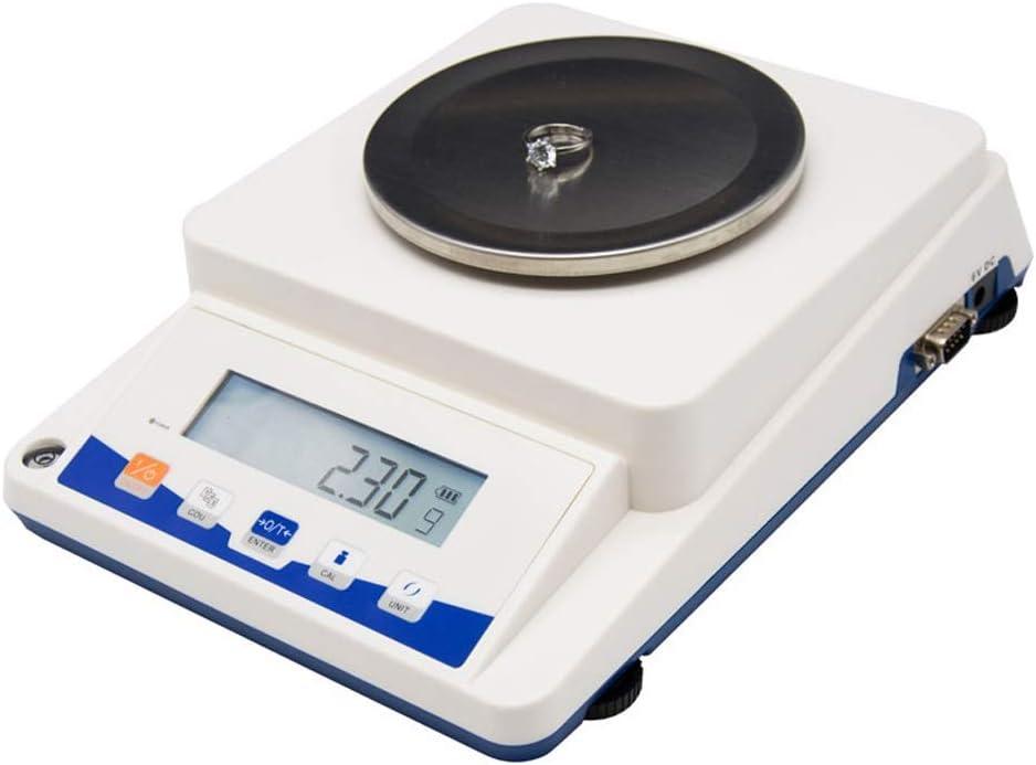 ZCXBHD Electrónico Escamas, 3100g X 0.1g Digital Precisión Laboratorio Analítico Equilibrar Inoxidable Acero Peso Pan Retroiluminado LCD C.A. Y Corriente Continua (Blanco) (Size : 3100g*0.1g)
