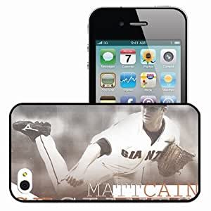 Personalized iPhone 4 4S Cell phone Case/Cover Skin 15074 Matt Cain by baseball6791 Black