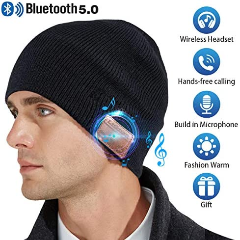 Bluetooth Beanie Hat,Mens Gifts V5.0 Unisex Wireless Knit Cap Winter Warm Hats for Running Outdoor Sports with Stereo Headphone Speaker Unique Christmas Tech Gifts for Men Women Black