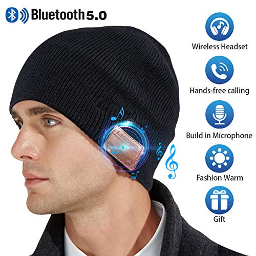 Bluetooth Beanie Hat,Mens Gifts V5.0 Unisex Wireless Knit Cap Winter Warm Hats for Running Outdoor Sports with Stereo Headphone Speaker Unique Christmas Tech Gifts for Men Women(Black) (Lovers Christmas Music Ideas)