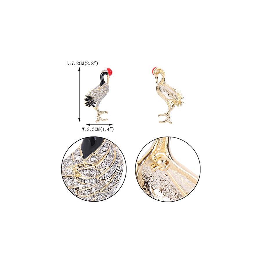 EVER FAITH Gold Tone Austrian Crystal Enamel Flamingo Bird Animal Brooch Pin Clear