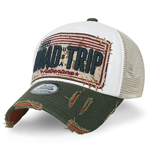 (ililily Road Trip Vintage Distressed Snapback Trucker Hat Baseball Cap (Medium, White))